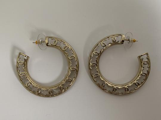 Chanel Chanel CC Logo Round Cut Out Gold Tone Classic Statement Hoop Earrings Image 7