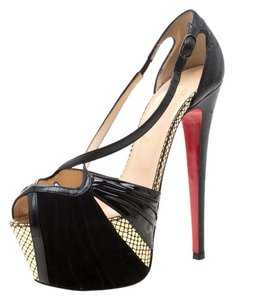 Christian Louboutin Leather Suede Open Toe Platform Black Sandals
