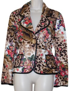 Lapis Brown Floral Blazer
