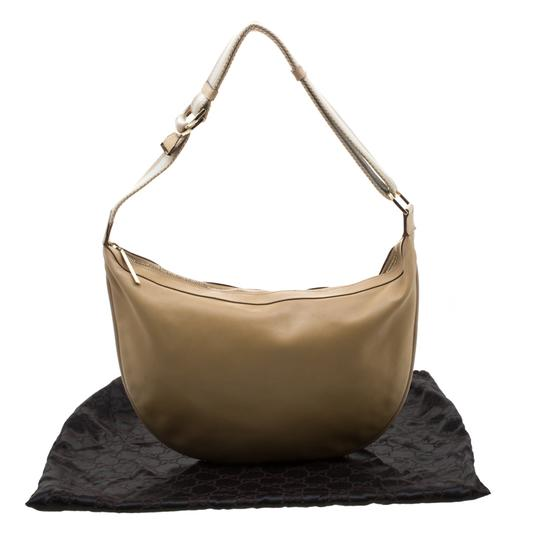 Gucci Leather Nylon Hobo Shoulder Bag Image 11
