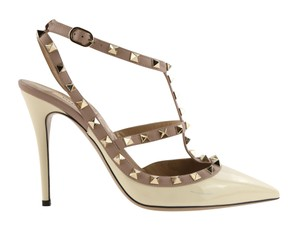 Valentino Patent Leather Leather Studded White Pumps