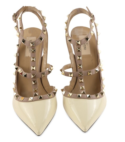 Valentino Patent Leather Leather Studded White Pumps Image 2