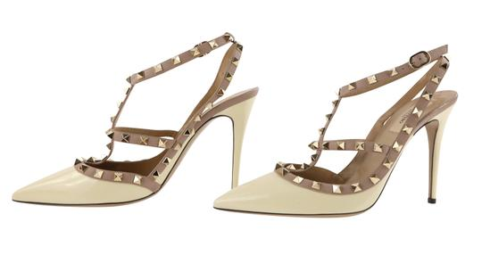 Valentino Patent Leather Leather Studded White Pumps Image 4