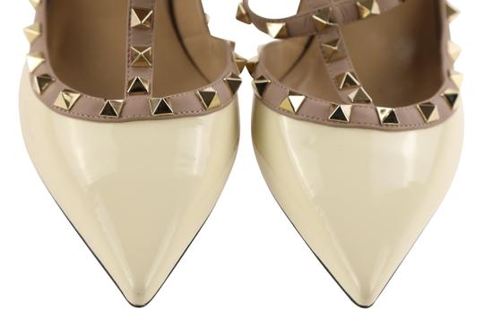 Valentino Patent Leather Leather Studded White Pumps Image 5