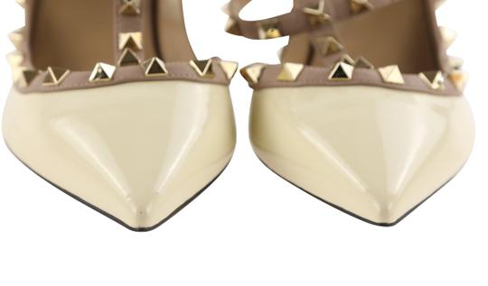 Valentino Patent Leather Leather Studded White Pumps Image 6