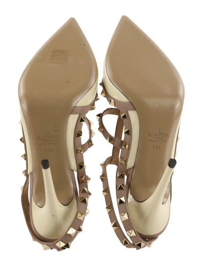 Valentino Patent Leather Leather Studded White Pumps Image 9