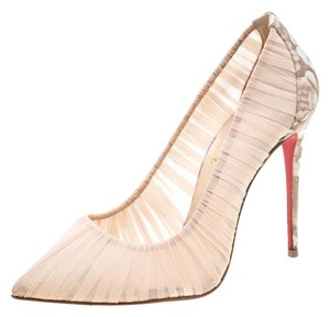 Christian Louboutin Pointed Toe Chiffon Leather Beige Pumps