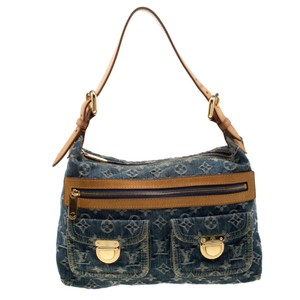 Louis Vuitton Denim Leather Monogram Hobo Bag