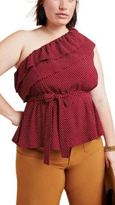 Anthropologie Top brick red