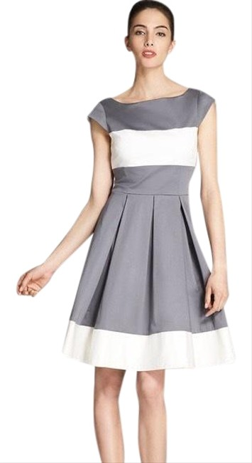 Item - Grey and White Adette Simply Cinema Mid-length Cocktail Dress Size 6 (S)
