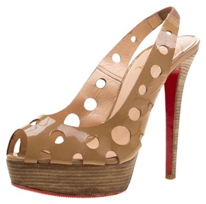 Christian Louboutin Patent Leather Platform Leather Beige Sandals