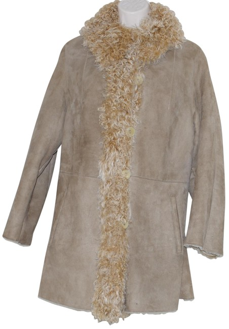 Item - Beige Shearling Lamb Trim Women Coat Size 6 (S)