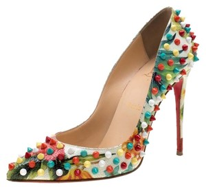 Christian Louboutin Leather Embellished Pointed Toe Multicolor Pumps