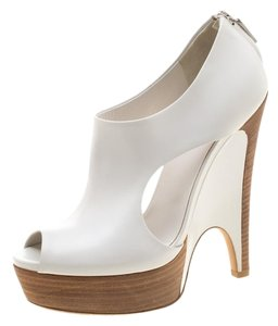 Gucci Leather Peep Toe Platform Cut-out White Boots