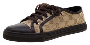 Gucci Leather Monogram Canvas Brown Athletic