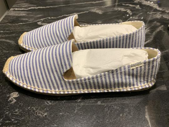 Soludos Espadrille Striped Summer White & Blue Flats Image 1