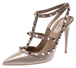 Valentino Patent Leather Ankle Strap Beige Sandals