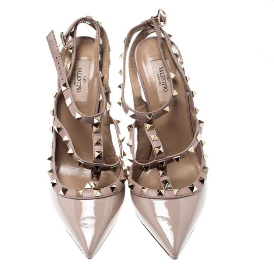 Valentino Patent Leather Ankle Strap Beige Sandals Image 1