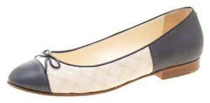Chanel Canvas Leather Ballet Grey Flats