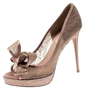Valentino Floral Lace Satin Mesh Pink Pumps