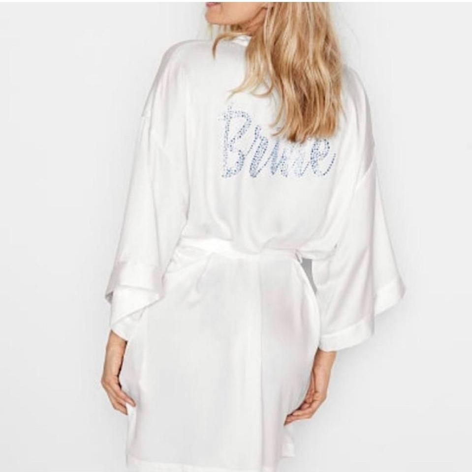 low priced better price for Discover Victoria's Secret White Kimono Embellished Rhinestone Satin Bridal Robe /  Sexy Wedding Dress Size OS (one size)