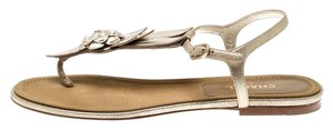 Chanel Suede Ankle Strap Gold Flats