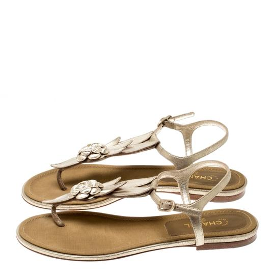 Chanel Suede Ankle Strap Gold Flats Image 4