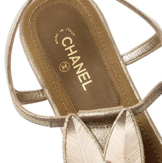Chanel Suede Ankle Strap Gold Flats Image 5