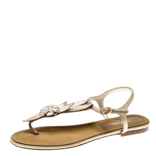 Chanel Suede Ankle Strap Gold Flats Image 6