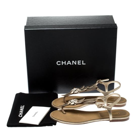 Chanel Suede Ankle Strap Gold Flats Image 7