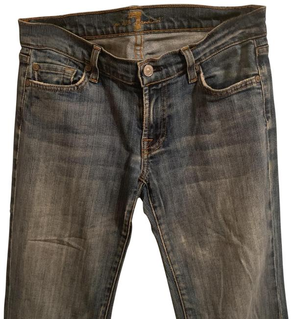 Preload https://img-static.tradesy.com/item/25999073/7-for-all-mankind-blue-distressed-cut-704324-flare-leg-jeans-size-6-s-28-0-3-650-650.jpg