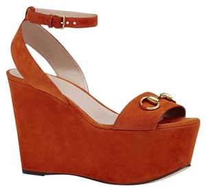 Gucci Platform Wedges Wedge Platforms Orange Sandals