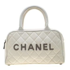 Chanel Canvas Leather Quilted Satchel in White