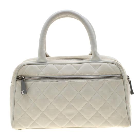 Chanel Canvas Leather Quilted Satchel in White Image 1