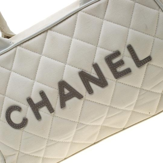 Chanel Canvas Leather Quilted Satchel in White Image 10