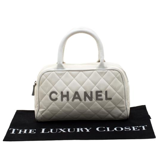Chanel Canvas Leather Quilted Satchel in White Image 11