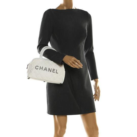Chanel Canvas Leather Quilted Satchel in White Image 2