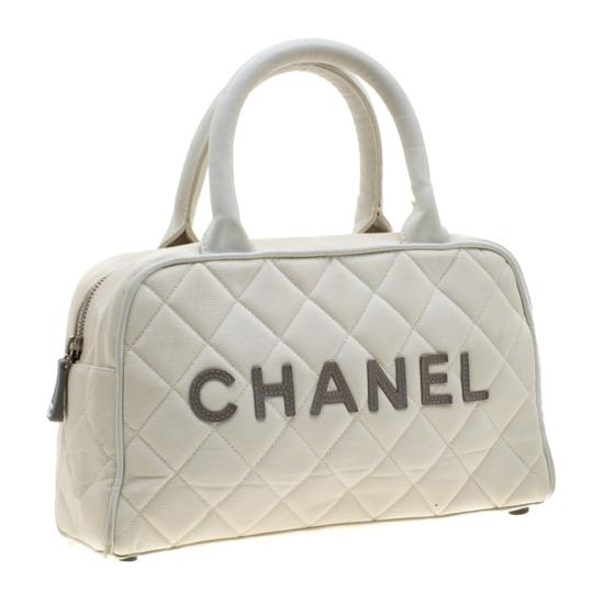 Chanel Canvas Leather Quilted Satchel in White Image 3