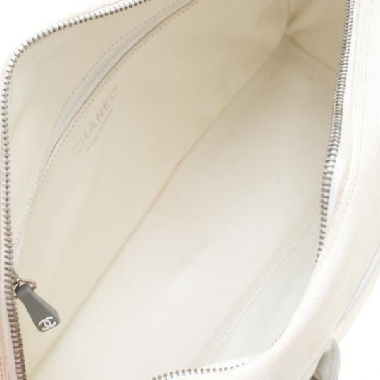 Chanel Canvas Leather Quilted Satchel in White Image 7