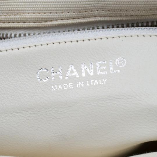 Chanel Canvas Leather Quilted Satchel in White Image 8