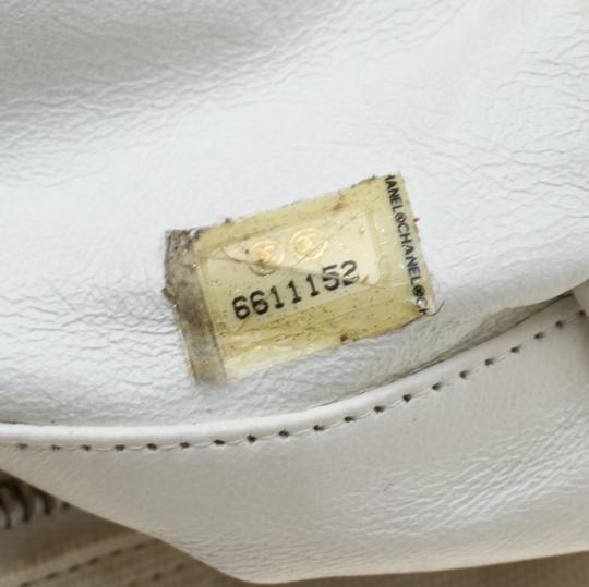Chanel Canvas Leather Quilted Satchel in White Image 9