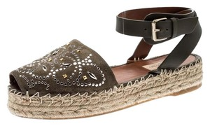 Valentino Embellished Suede Leather Ankle Strap Green Flats