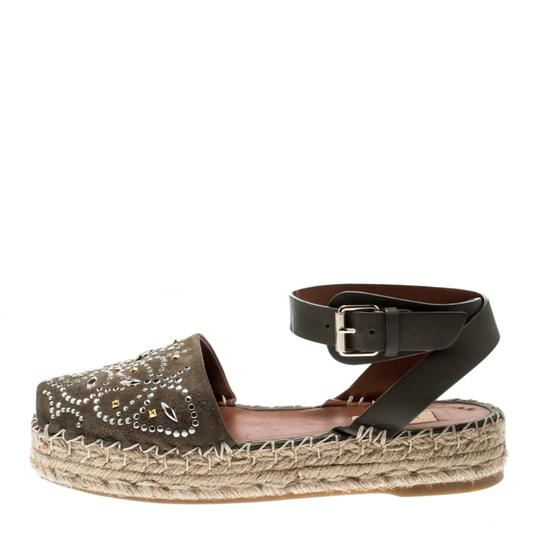 Valentino Embellished Suede Leather Ankle Strap Green Flats Image 6
