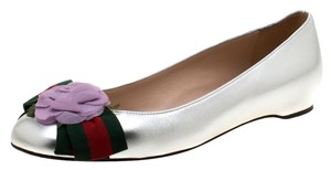 Gucci Leather Satin Ballet Silver Flats