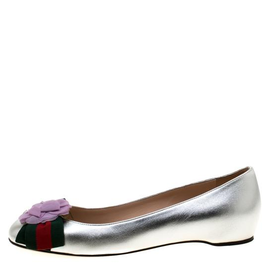 Gucci Leather Satin Ballet Silver Flats Image 3