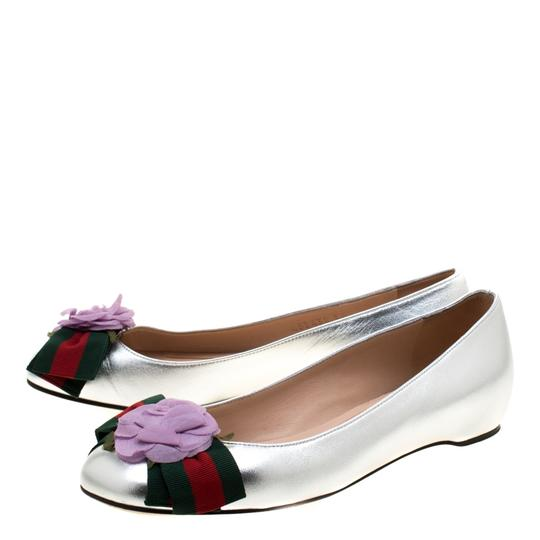 Gucci Leather Satin Ballet Silver Flats Image 4