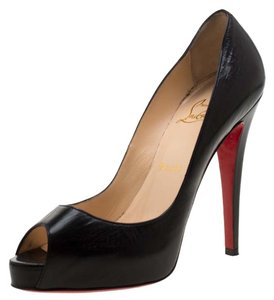 Christian Louboutin Leather Peep Toe Platform Black Pumps
