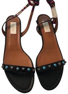 Valentino Black leather /turquoise and bronze derail multi color strap Sandals