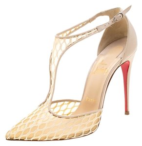 Christian Louboutin Pointed Toe Lace Mesh Beige Sandals