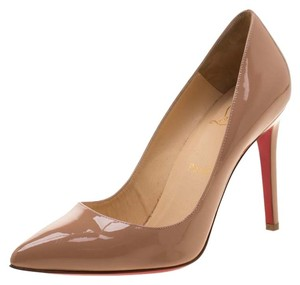 Christian Louboutin Patent Leather Pigalle Pointed Toe Beige Pumps